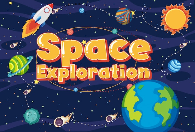 Tło z słowo eksploracji przestrzeni kosmicznej