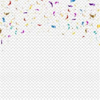 Tło z spadających konfetti przezroczystym tle