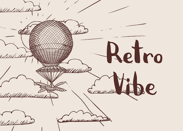 Tło z steampunk ręcznie rysowane balonem przed słońcem i chmury z miejscem na tekst ilustracja
