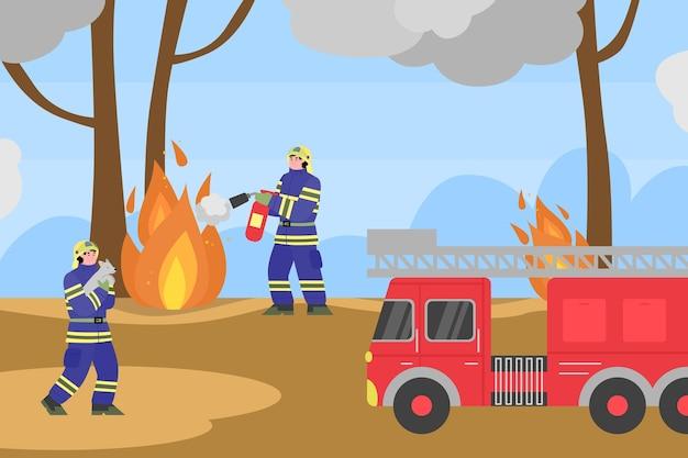 Tło z strażakami próbującymi ugasić pożary w lesie, kreskówka płaski. baner katastrofy pożarowej z zespołem ratowniczym straży pożarnej.