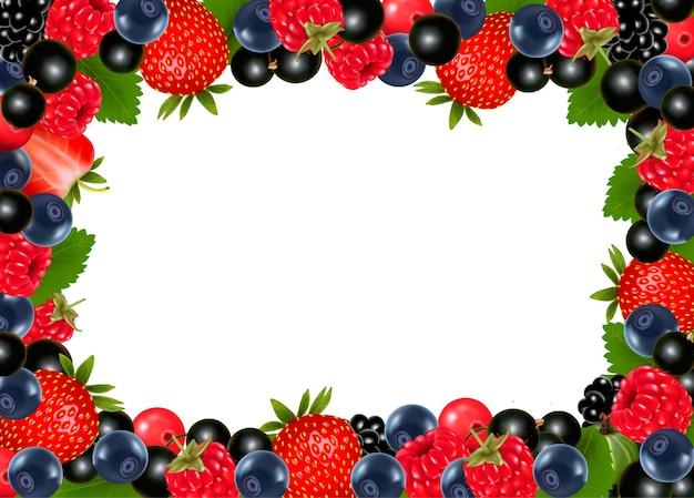 Tło z świeżych jagód i wiśni.