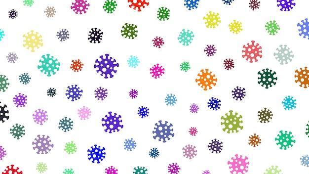 Tło z symbolami wirusa, wielokolorowe na białym. ilustracja na temat pandemii koronawirusa.