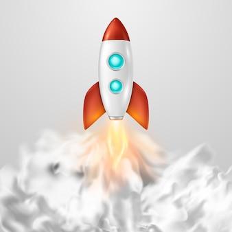 Tło z szablonem startu rakiety kosmicznej w stylu retro dla kreatywnego pomysłu na uruchomienie projektu i proces rozwoju