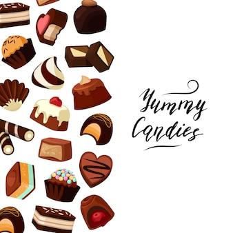 Tło z tekstu i kreskówka cukierki czekoladowe