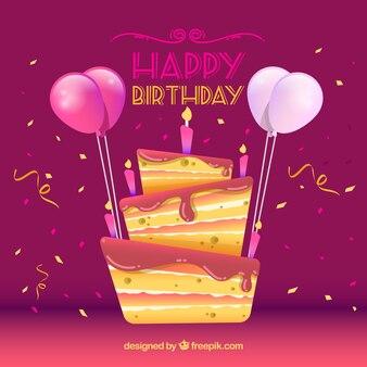 Tło z tort urodzinowy i konfetti