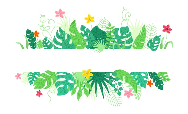 Tło z tropikalnych liści i kwiatów, stylu cartoon. modna oprawa hawajska. granica liści tropikalnego lasu deszczowego z monstera, liście bananowca