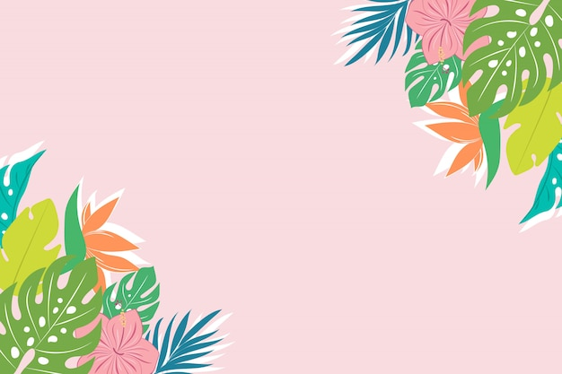 Tło z tropikalnych liści