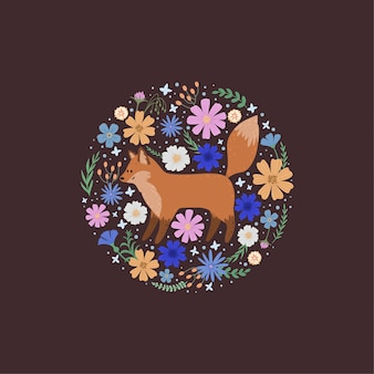 Tło z uroczym lisem, liśćmi i kwiatami