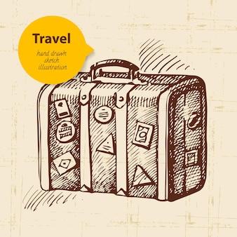 Tło z walizką podróżną. ręcznie rysowane ilustracja