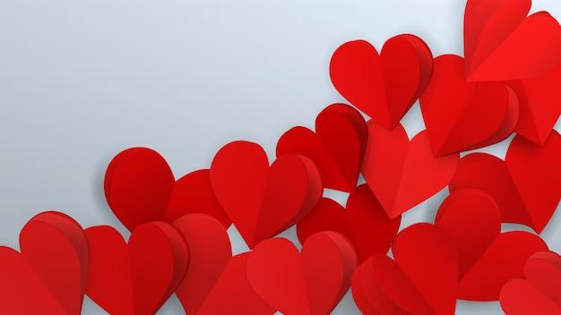 Tło z wieloma sercami o małej objętości papieru, czerwony na białym