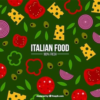 Tło z włoskich składników żywności