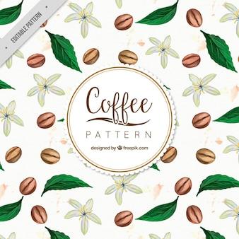 Tło z ziaren kawy z liśćmi akwarela