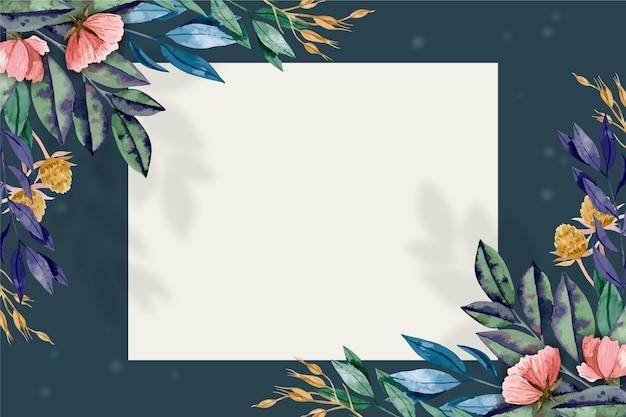 Tło z zimowymi kwiatami i bagde