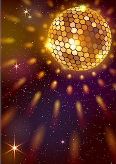 Tło z złotą kulą dyskotekową i światłami