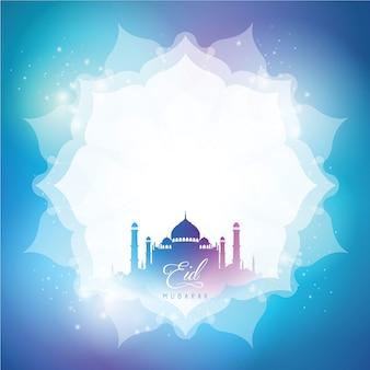 Tło z życzeniami eid mubarak