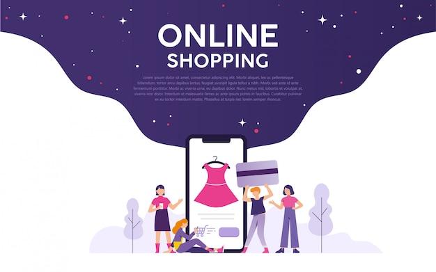 Tło zakupów online