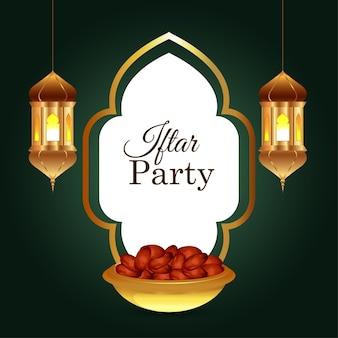 Tło zaproszenie iftar z arabską złotą latarnią i datami