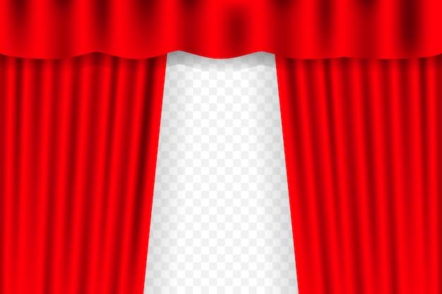 Tło zasłony rozrywkowe dla filmów. piękna czerwona teatralna zasłona złożona na czarnej scenie.