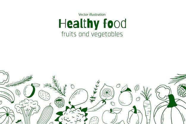 Tło zdrowej żywności. ilustracja wektorowa. owoce i warzywa
