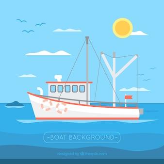 Tło żeglarstwa łodzi rybackich
