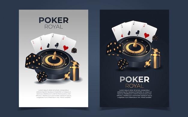 Tło żetonów i kart pokera. plakat szablon poker casino.