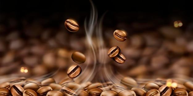 Tło ziaren gorącej kawy