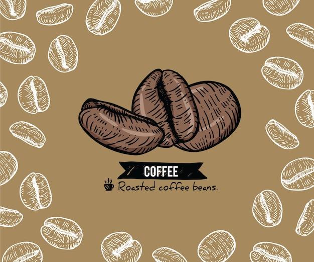 Tło ziaren kawy ręcznie rysowane ze sztuki linii.