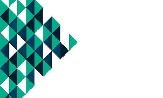 Tło zielone, niebieskie i białe trójkąty geometryczne. tło dla projektów.