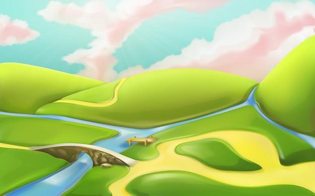 Tło zielony krajobraz