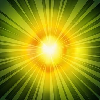 Tło zielony promienie promieniowe retro