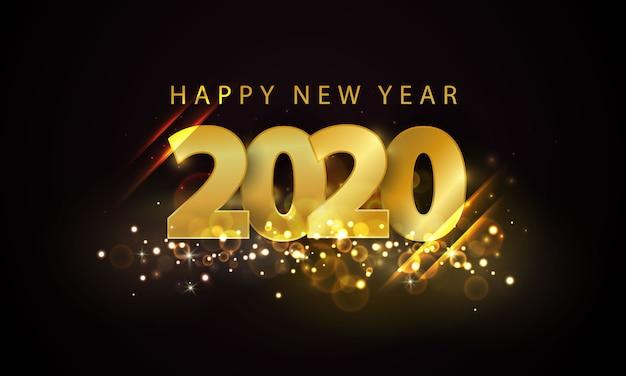 Tło złote szczęśliwego nowego roku 2020.