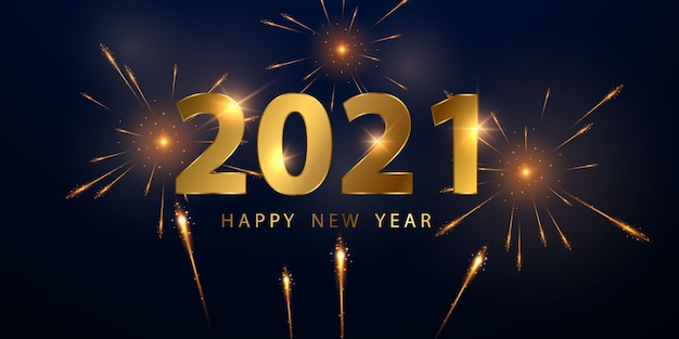 Tło złote szczęśliwego nowego roku 2021