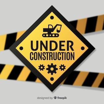 Tło znak ostrzegawczy płaski budowlane