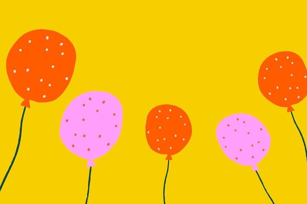 Tło żółte balony imprezowe w motywie urodzinowym