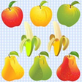 Tło, żółte, zielone, czerwone jabłka, gruszki, banany, na tle niebieskich komórek