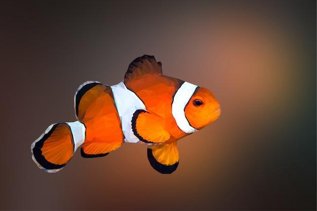 Tło zwierzę wielokątne geometryczne ryby pajac