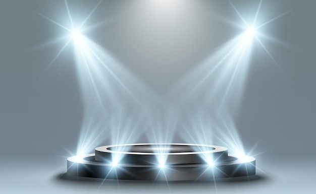 Tło zwycięzcy ze znakami pierwszego drugiego i trzeciego miejsca na okrągłym cokole wektor zwycięzcy pod