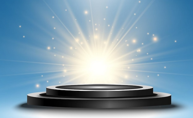 Tło zwycięzcy ze znakami pierwszego drugiego i trzeciego miejsca na okrągłym cokole zwycięzca wektora