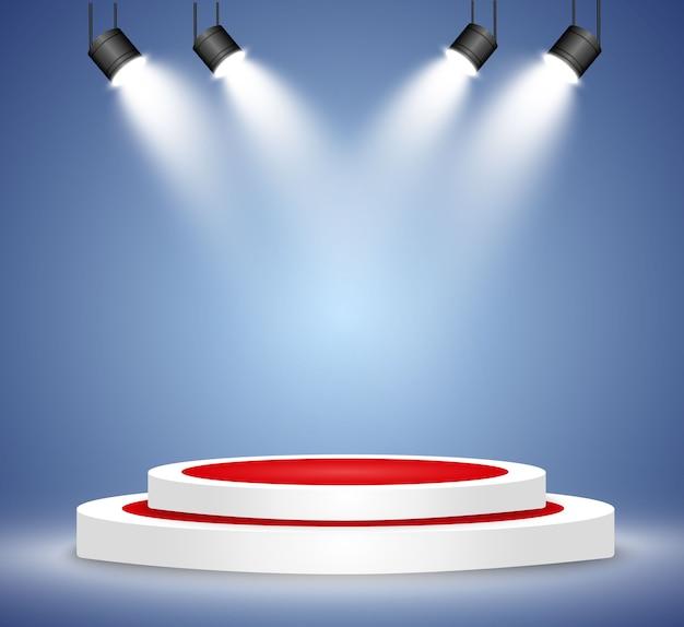 Tło zwycięzcy ze znakami pierwszego, drugiego i trzeciego miejsca na okrągłym piedestale. wektor symbole sportowe podium zwycięzcy.