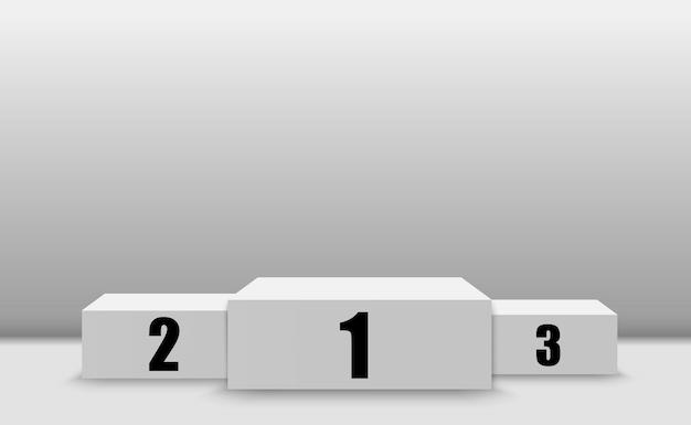 Tło zwycięzcy ze znakami pierwszego, drugiego i trzeciego miejsca na piedestale. symbole sportowe podium zwycięzcy.