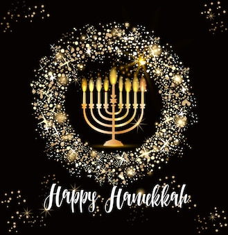 Tło żydowskie święto chanuka, realistyczne tradycyjne świeczniki menora, płonące świece, efekt bokeh.