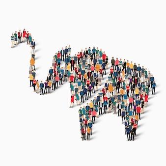 Tłoczeni ludzie tworzący postać słonia