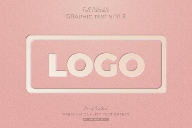 Tłoczone logo w stylu vintage edytowalny efekt niestandardowego stylu tekstu premium