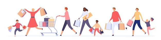 Tłum ludzi biegających na sprzedaż. kobiety i mężczyźni z torbami na zakupy ścigają się po duże zniżki. czarny piątek szalony kupujących koncepcja wektor. ilustracja biegnie po zniżki na zakupy w handlu detalicznym
