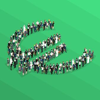 Tłum ludzi izometryczny znak euro