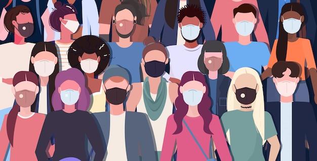 Tłum ludzi noszących maski medyczne koronawirus 2019-ncov choroba epidemiczna pandemia kwarantanny