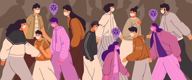 Tłum ludzi noszących maski na twarz. mężczyźni, kobiety i nastolatki stosują środki zapobiegające wirusom. osoby zarażone wśród zdrowych. pandemia koronawirusa, choroba epidemiczna. kolorowa ilustracja w płaskim kreskówka stylu