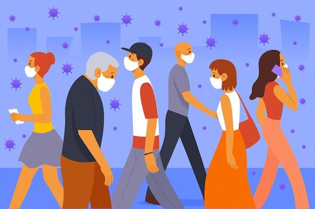 Tłum ludzi noszących maski na twarz