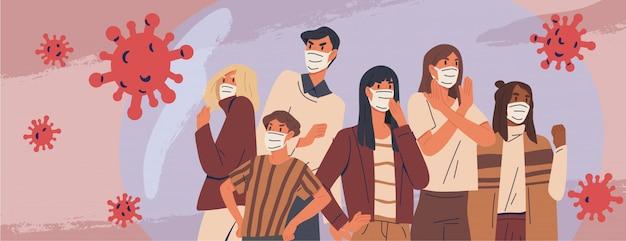 Tłum ludzi noszących transparent maski medyczne. środki zapobiegawcze, ochrona człowieka przed wybuchem zapalenia płuc. koncepcja epidemii koronawirusa. choroby układu oddechowego, rozprzestrzenianie się wirusa. ilustracja