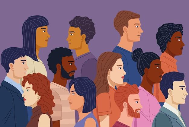 Tłum Ludzi Różnorodności Premium Wektorów